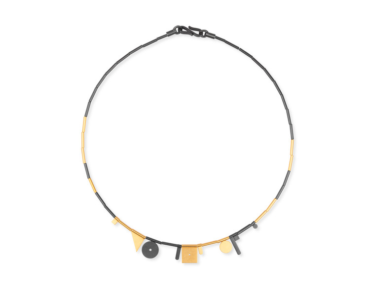 14K Gold & Ruthenium Plated Sterling Silver Large Geometric Shapes Necklace