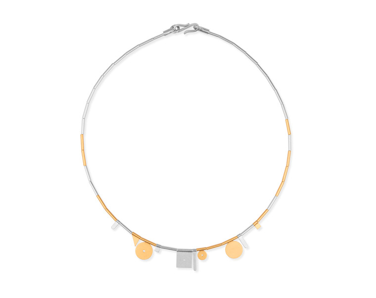 14K Gold Plated Sterling Silver Large Geometric Shapes Necklace