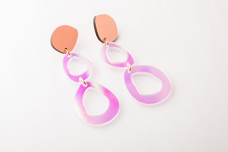 Recycled Resin Fluid Double Drop Earrings
