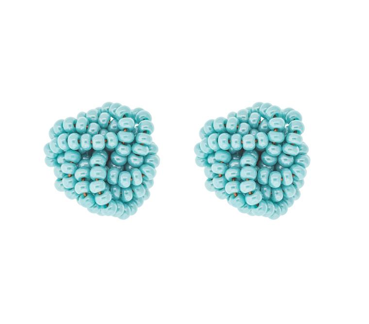 Beaded Rosette Earrings- Turquoise