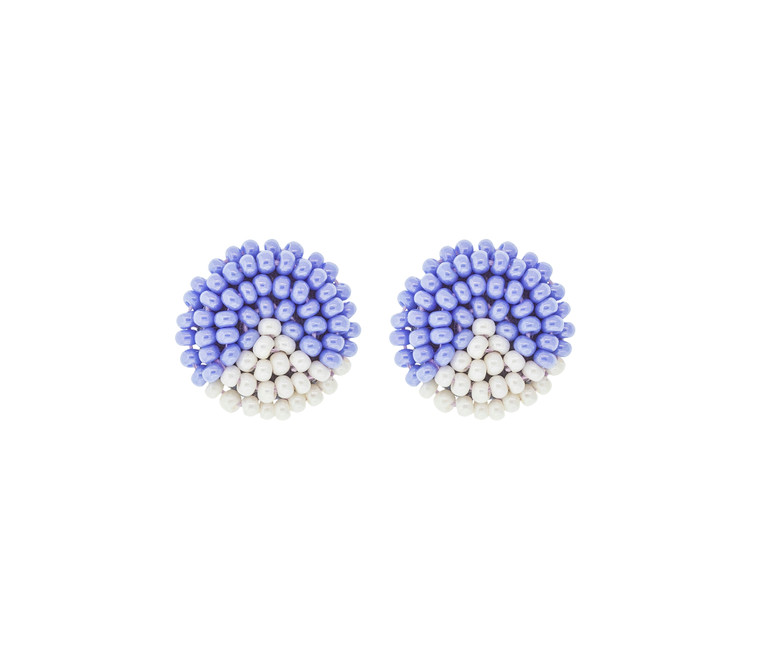 Beaded Button Earrings- Periwinkle Triangle