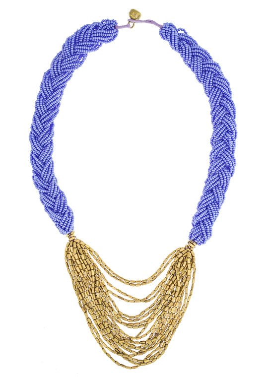The Braided Hema Necklace- Periwinkle