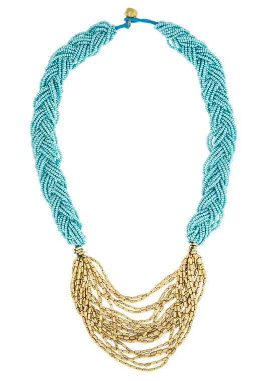 The Braided Hema Necklace- Turquoise