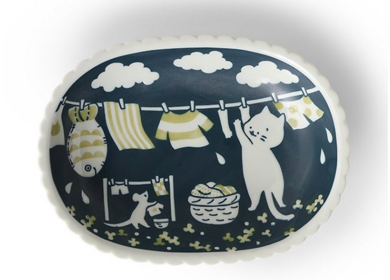 Cat Life Ceramic Oval Plate