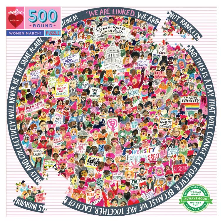 Women March! 500 Piece Round Jigsaw Puzzle