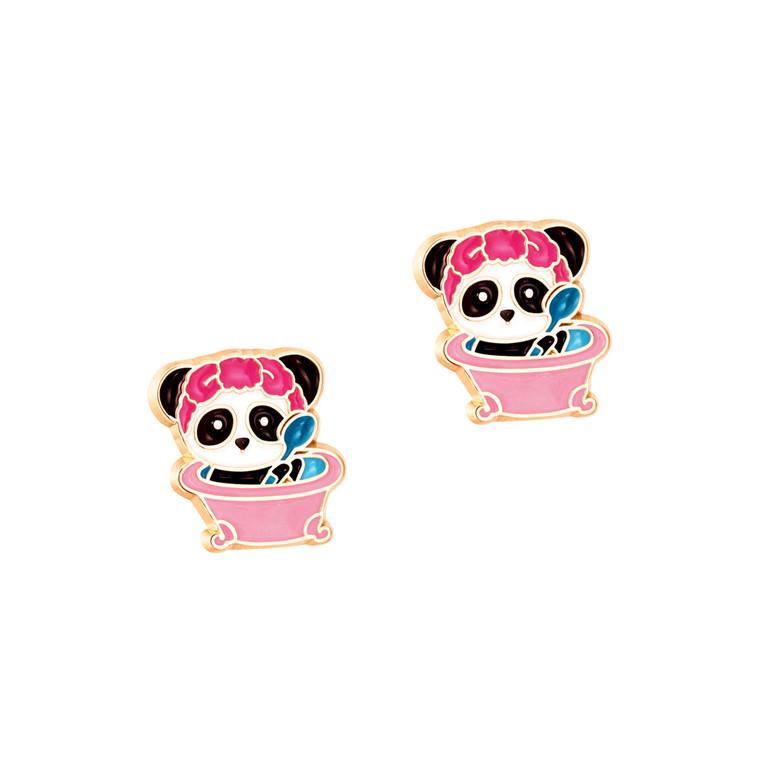 Panda Bubblebath Enamel Stud Earrings