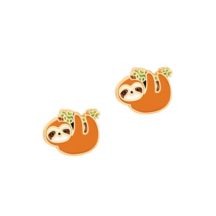 Playful Sloth Enamel Stud Earrings