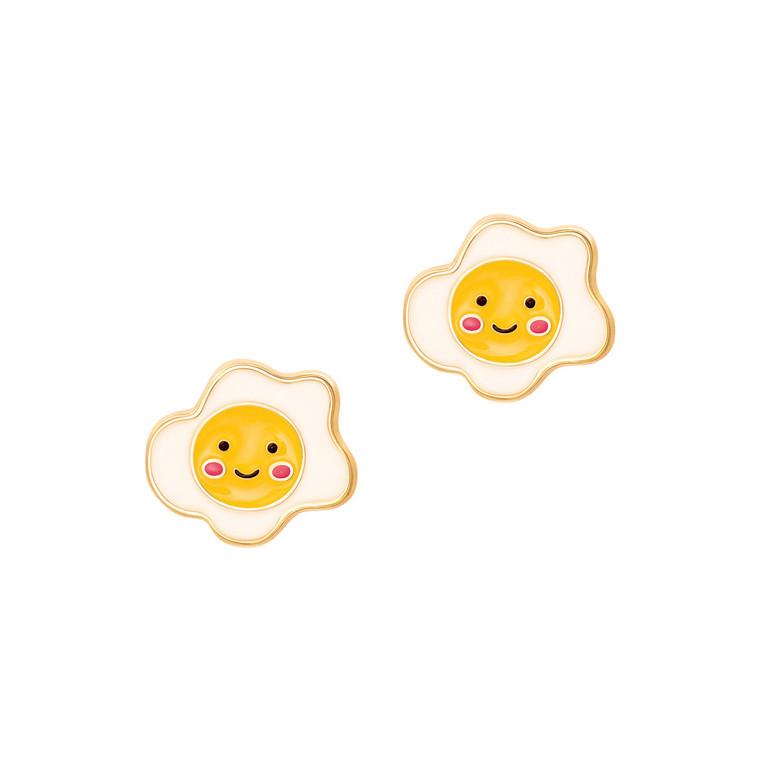 Sunny Side Up Egg Enamel Stud Earrings