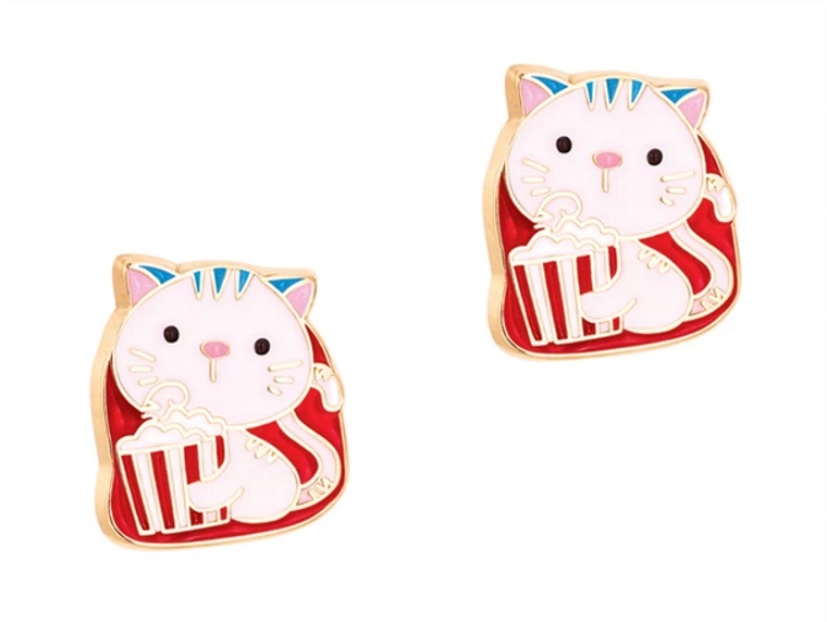 Kitty Pop Enamel Stud Earrings