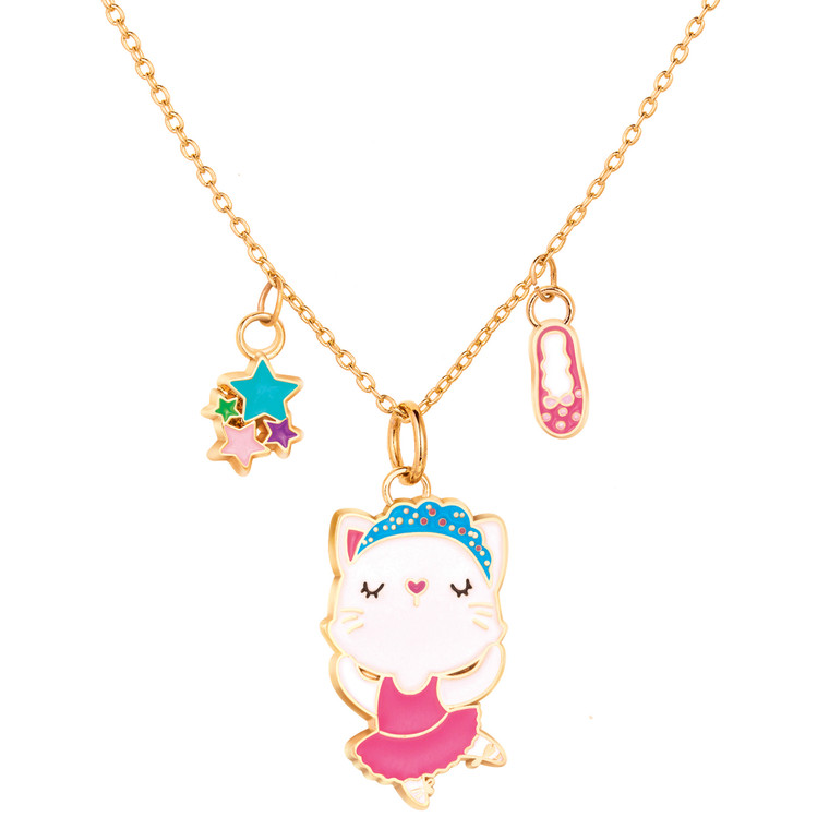 Ballerina Kitty Enamel Charm Necklace