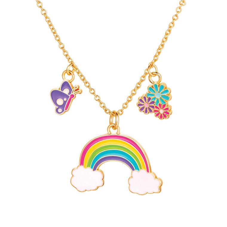 Rainbow Cloud Enamel Charm Necklace