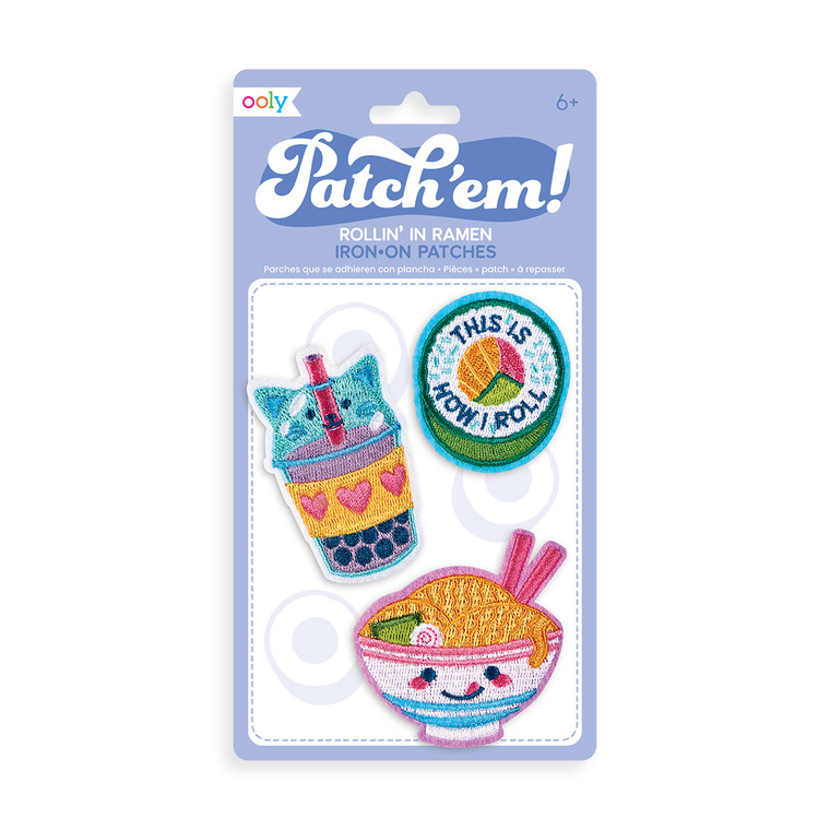 Patch 'em Rollin' In Ramen Iron On Patches- Set of 3