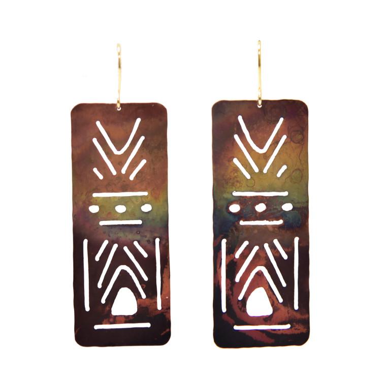 Fire-Painted Copper Cutout Pattern Earrings