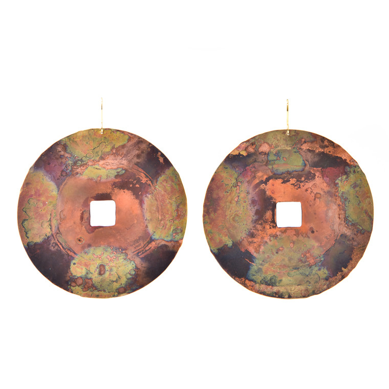 Fire-Painted Copper Large Disc Earrings