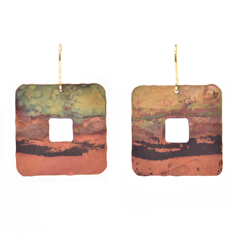 Fire-Painted Copper Small Cutout Square Earrings