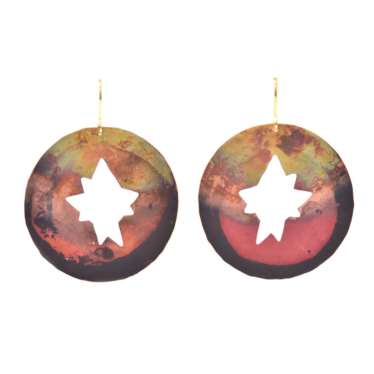 Fire-Painted Copper Round Cutout Star Earrings