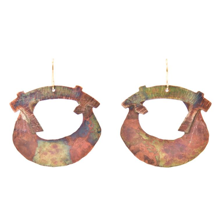 Fire-Painted Copper Open-Shape Earrings