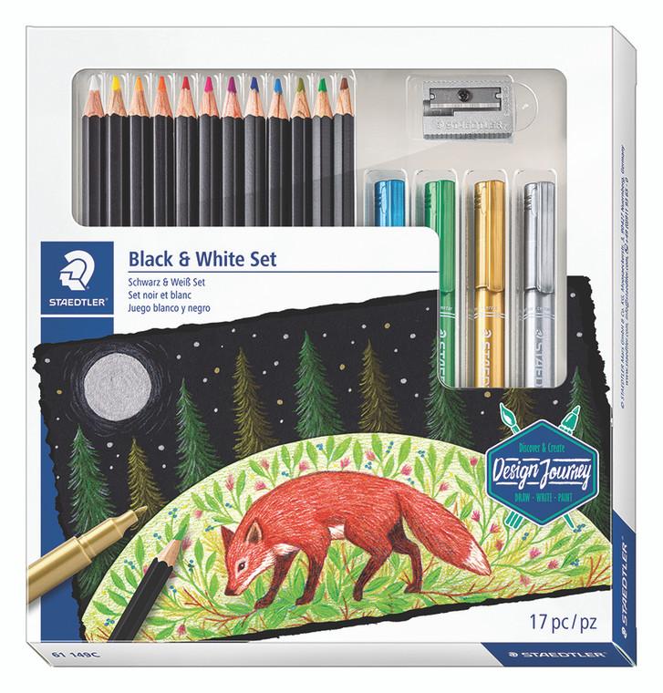 Black & White Colored Pencil & Metallic Marker 17 Piece SetSet