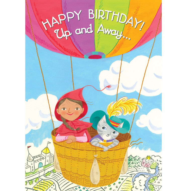 Little Red & Cat in Balloon Card