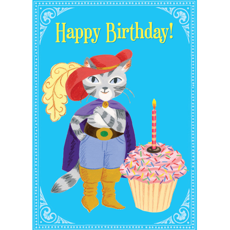 Cat with Giant Cupcake Card