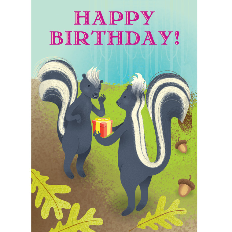 Skunks with Present Card