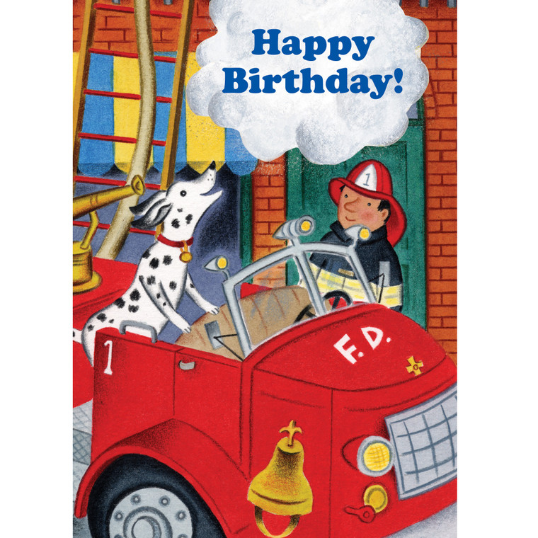 Fire Dog & Fireman Card