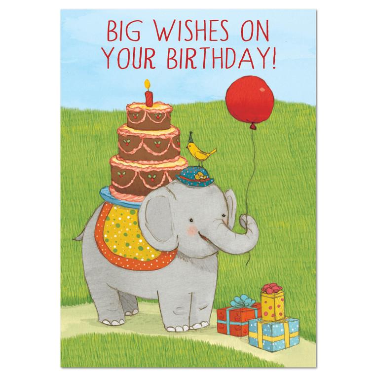 Elephant with Cake Card