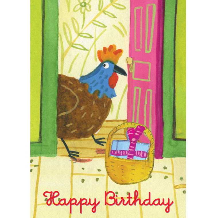 Rooster at the Door Card
