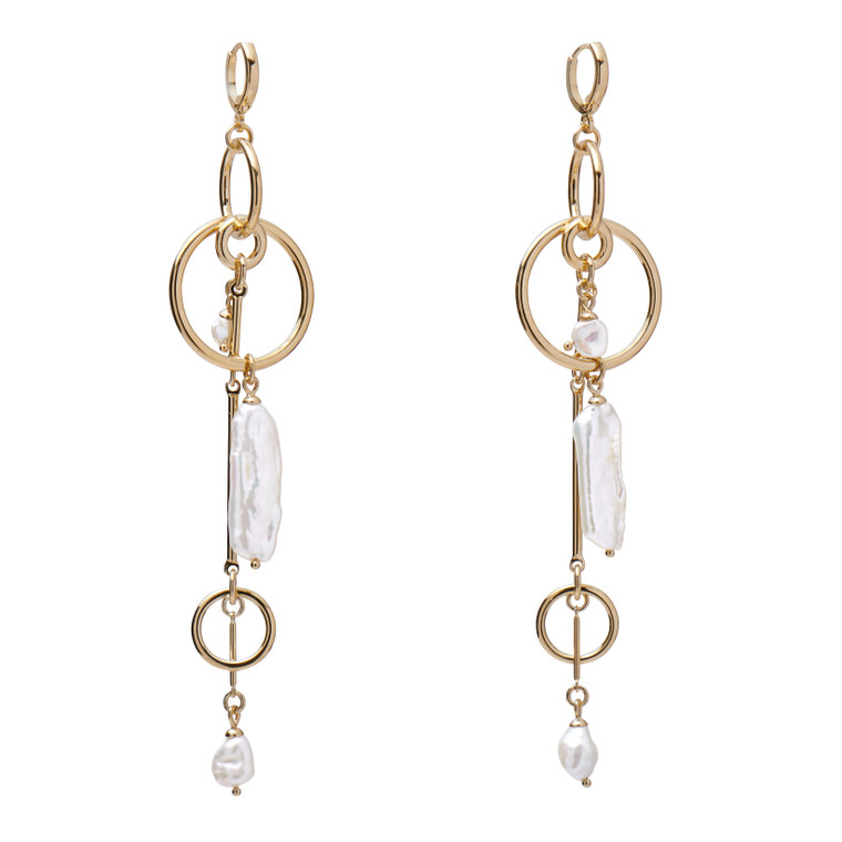 Gold Plated Pearl Mobile Earrings