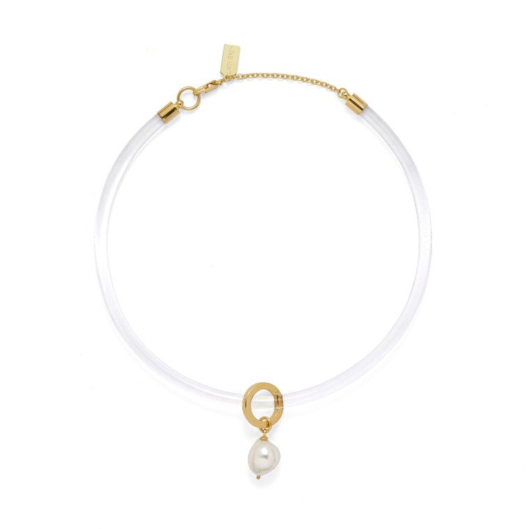 Gold Plated Clear Choker w/ Pearl Drop