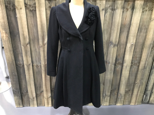 Fever London Black Wool Coat w/ Flower Applique