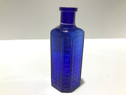 2oz Cobalt Blue Embossed Poison Bottle