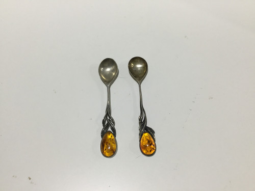Pair of Sterling Silver & Amber Spoons