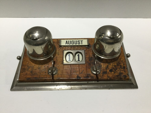 Antique Ink Stand with Perpetual Calendar
