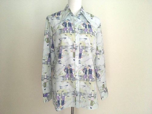 Flapper Girl Print Polyester 1970's Shirt