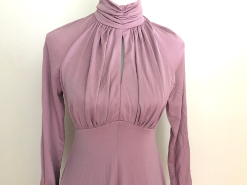 Vintage Fitted Banlon Mauve Maxi Dress