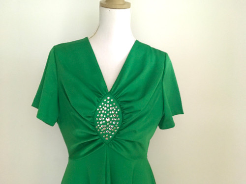 Vintage Retro 1970's Emerald Green Diamante Dress