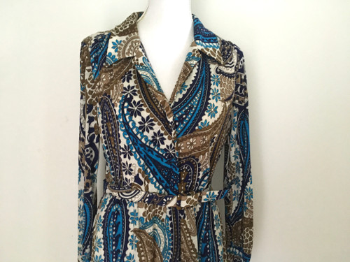 Vintage Retro 1970's Handmade Belted Paisley Maxi Dress