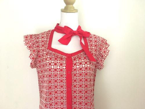 Lace Cut Out Red White Button Up Dress