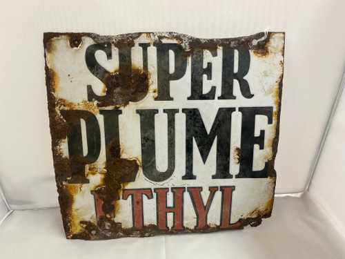 'Super Plume Ethyl' Vintage Enamel Sign 29x30cm