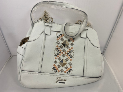 GUESS Brand White Leather Bedazzled Hangbag