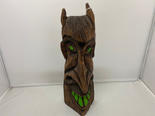 Wooden Creepy Carved Tiki with Green Eyes & Teeth