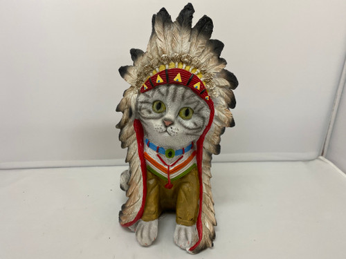 Grey Tabby American Indian Chief Cat Resin Statue