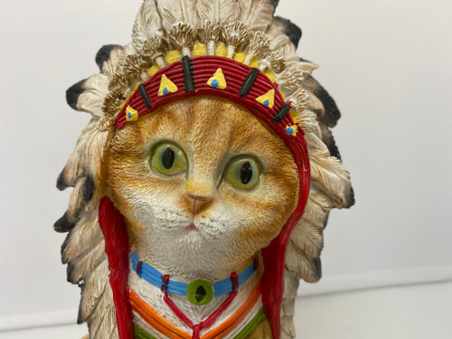 Ginger Tabby American Indian Chief Cat Resin Statue