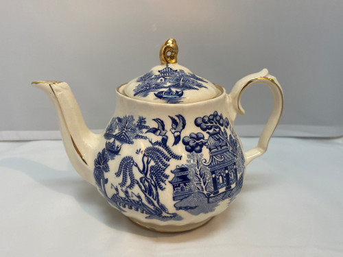 Vintage Blue & White Willow Pattern Ceramic Sadler Teapot