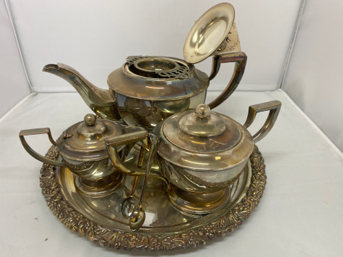 Stunning Silver Plated Tea Set - Reproduction Old Hecworth