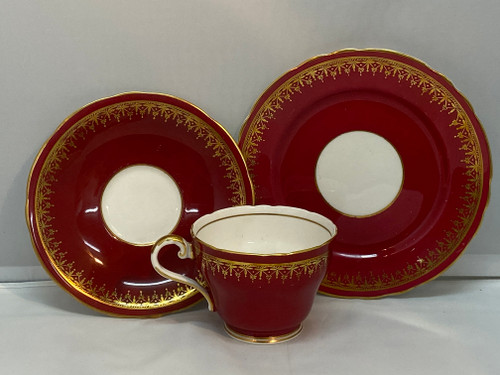Aynsley Vintage Maroon & Gold Trio - Cup, Saucer & Plate Set