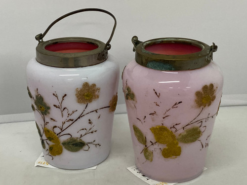 Victorian Pair of Milk Glass Pink Jars- Cranberry Inner Handpainted