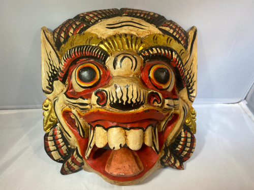 Roaring Dragon Head Wall Hanging Mask - Wooden