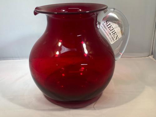 Red Handblown Glass Jug - 19cm Tall